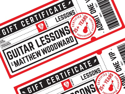 Guitar Lesson Gift Certificates gift gift certificate gift certificates design vector illustration gift card coupon red black graphic