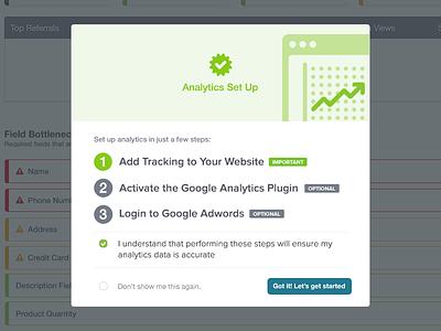 Analytics Set Up Modal intstructions steps app web dialog modal analytics
