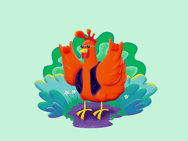 Rock'n Chick'n birds chicken adobe illustrator character creation character concept character photoshop digital painting vector design illustrator illustration