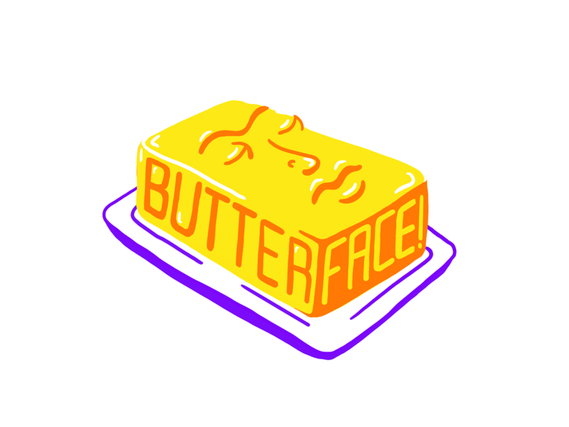 butterface drag butter vector illustration