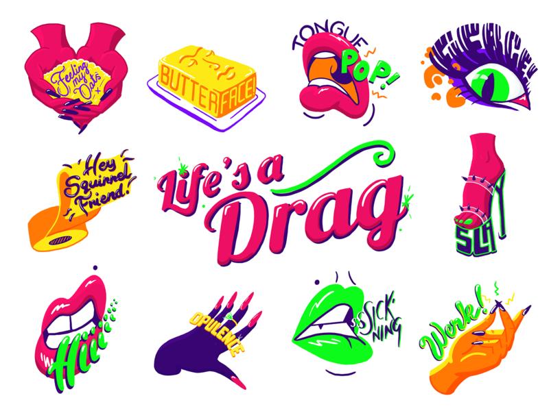 Lifes a drag Stickers drag digital painting design illustration