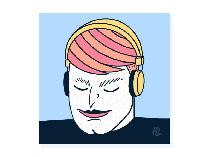Listen Track 1 podcasts music headphones procreate male character character creation character digital painting design illustration
