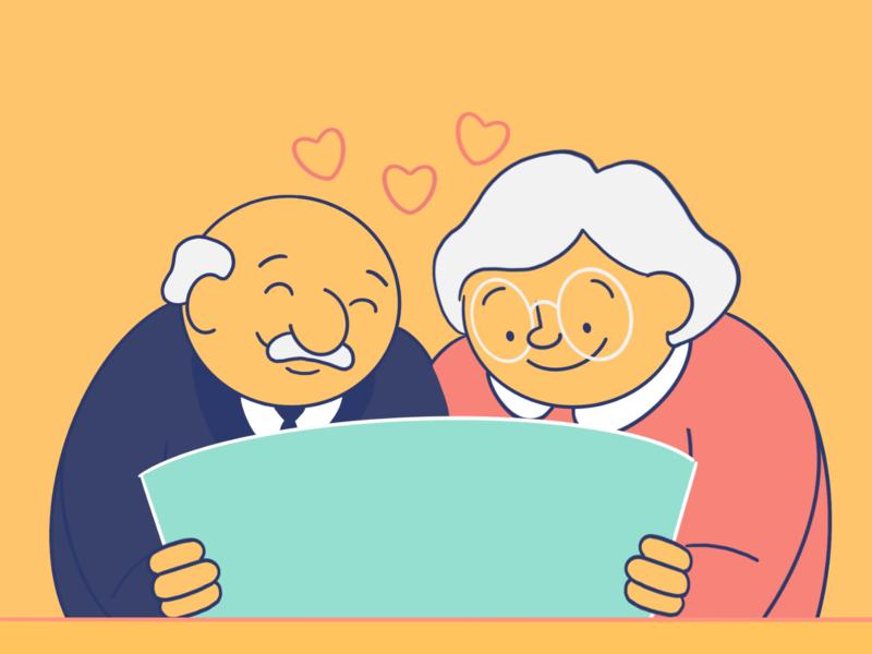 Grandparents character design procreate male character female character character concept character creation digital painting illustration
