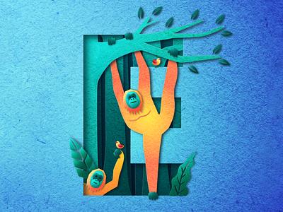 Endangered design letter character graphic design endangered illustration vector vectorgraphic vectordesign jungle animal monkey orangutan