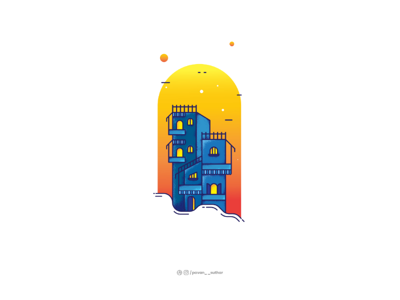 Evening in the City 🌃 buildings evening city dribbble. adobe usemuzli muzli vector illustration illustrator