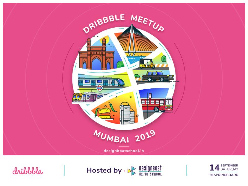 Dribbble Meetup - Mumbai design muzli ux ui mumbai illustration meetup dribbble badge