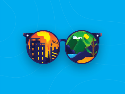 Glasses (view of climate change) adobe muzli dribbble illustration forest buildings climate change glasses