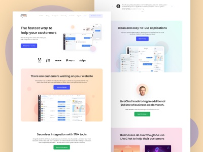 LiveChat Landing Page Redesign uidesign ux chat app landingpage product page chatbot livechat uxdesign ui branding illustration