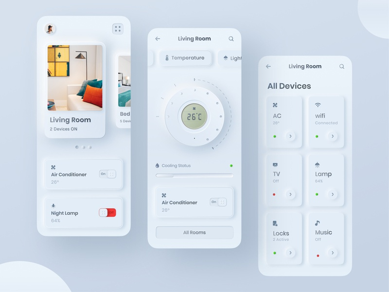 Skeuomorphic styled home control app UI