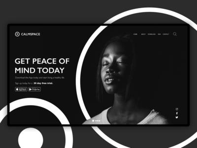 Calmspace meditation landing page ui web design