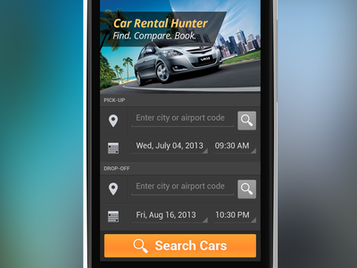 Car Rental orange app android dark ui car rental