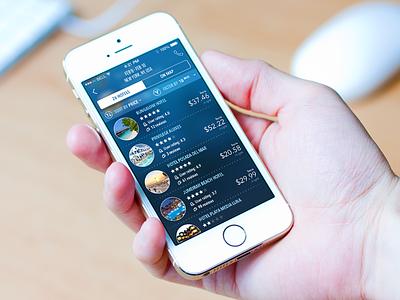 Car Rentals Market (Hotels) ios hotel app tabs list blue rental booking ui interface