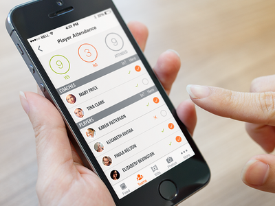 Attendance (SportUp for iOS) ios ui interface sport application fitness coach athlete attendance player team