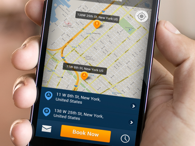 Taxi Shuttle App ui app android dark taxi map