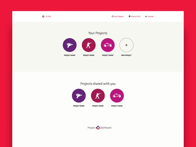 Project Dashboard - Projects Home ux ui start up dashboard project management product saas
