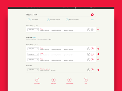 Project Dashboard - Project Lander ux ui documents start up dashboard project management product saas