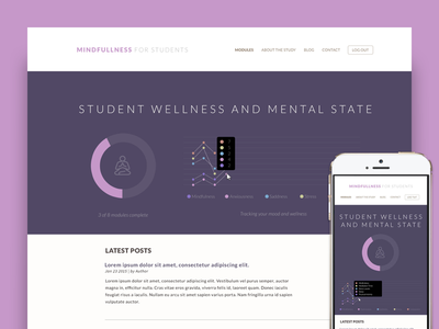 Student Wellness - Dashboard meditation education student ux ui survey product graph data dashboard