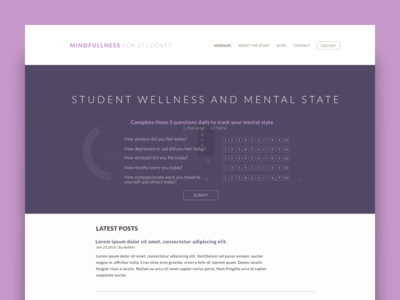 Student Wellness -  Survey Page meditation education student ux ui survey product graph data dashboard