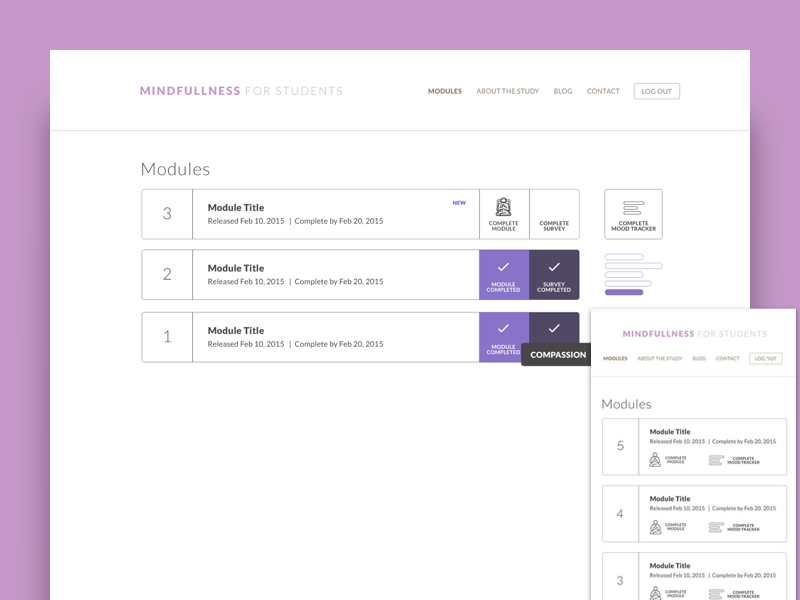 Student Wellness  -  Modules Page ux ui survey student product meditation graph education data dashboard