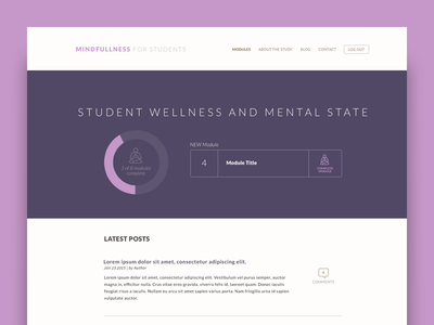 Student Wellness  - Home dashboard data education graph meditation product student survey ui ux