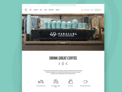 49th Parallel Coffee Roasters - Homepage coffee homepage ux ui shopify ecommerce