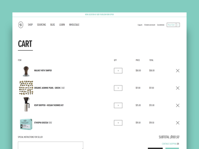 49th Parallel Coffee Roasters - Cart ecommerce shopify ui ux shopping cart coffee