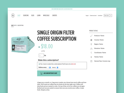 49th Parallel Coffee Roasters - Product Page ecommerce shopify ui ux shopping cart coffee