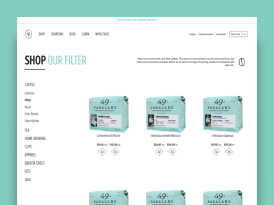 49th Parallel Coffee Roasters - Product Category coffee category ux ui shopify ecommerce