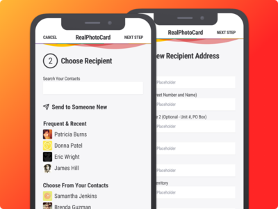 RealPhotoCard - Postcard App - Select Recipient contacts photo postcard mobile android ios app