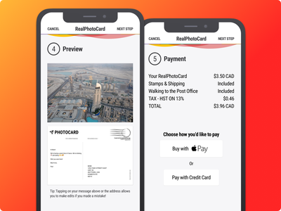 RealPhotoCard - Postcard App - Review and Pay apple pay payment postcard mobile app android ios