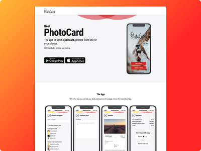 RealPhotoCard Website Homepage ux ui ecommerce side project product app website