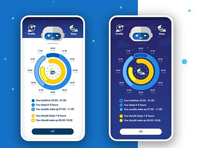 Sleep Analyst (Concept) ux analytics bed infogram diagram chatbot sleep fitness ui histogram wellnes design illustration