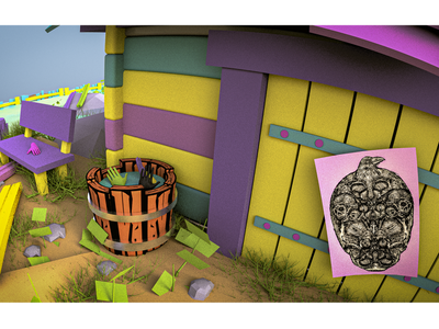 Colorful houses and windmill (3D Diorama). minimal sketch icons branding indie digitalart cgart 3dart fantasy puppeteer stop motion doll render motion graphics windmill design diorama 3d illustration illustration 3d