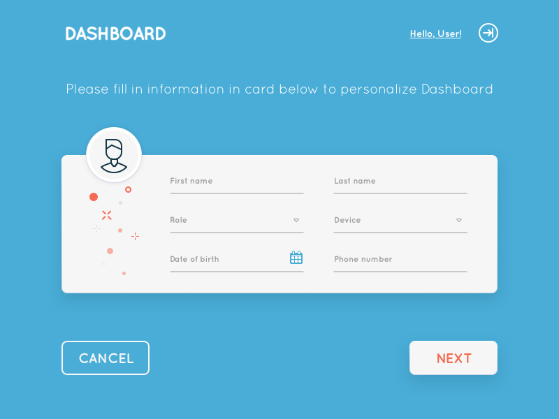 Dashboard Intro Page web forms ui