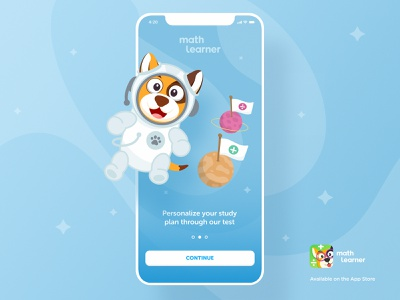 Math Learner - Character Design paywall button slider onboarding education planet space dog game art ux ui product design app design character design math math learner educational app education app