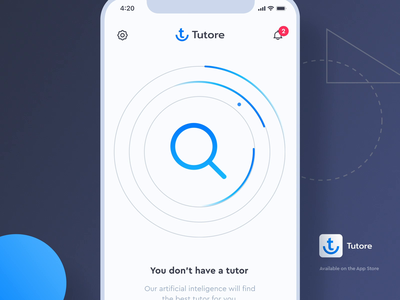 Tutore - Search Animation (Lottie) onboarding welcome main screen home homescreen lottie tutoring teacher search results search bar not found 404page 404 empty search searching after effects