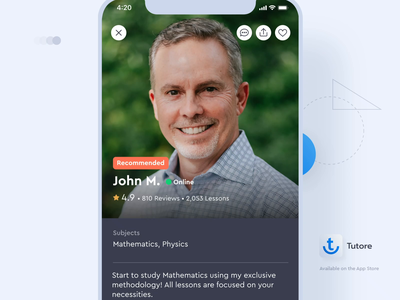 Tutore - Tutor profile scroll interaction interaction design after effect scroll animation calendar product design user interface students social network education tutoring schedule resume avatar profile scroll interaction education app