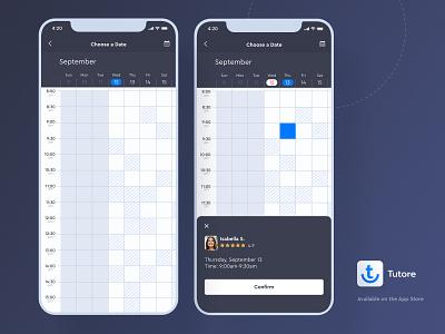 Tutore - Scrollable Calendar availability calendar app clean interface education app schedule app scheduling date picker date product design calendar ui calendar design schedule weekly calendar