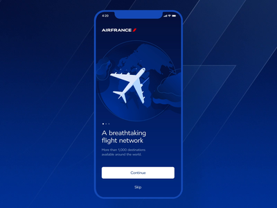 Air France - Onboarding Animation (Lottie) interaction design interaction after effects animation after effects lottie world product design ui user interface airline airport boarding pass onboarding ui airplane animation air france