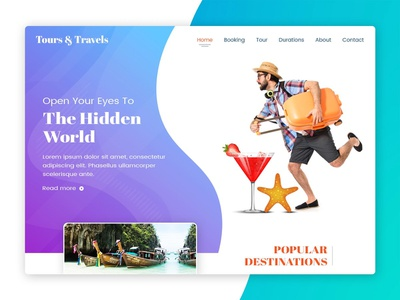 Tours and Travels - Web Design travels tours minimal userinterface website typography ui responsive design branding uiuxdesign web ui  ux design photoshop