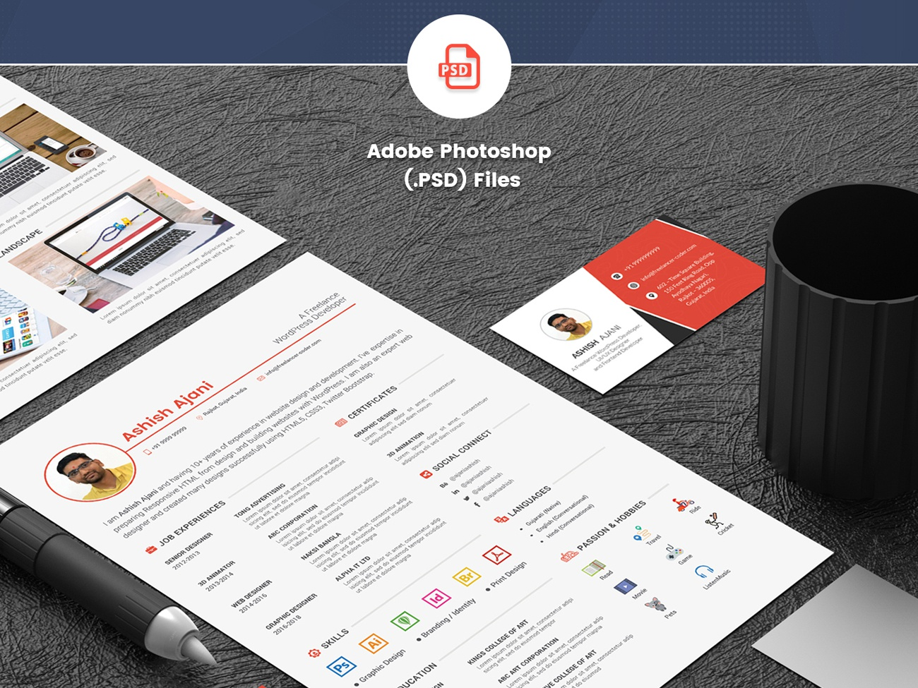 Download Free Resume Template PSD – Creative And Professional by ...