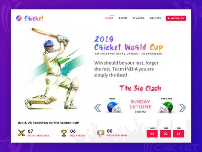 Cricket World Cup Web UI Design