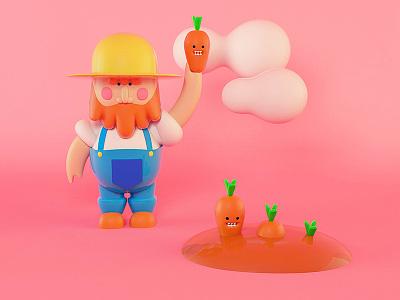 Farmer farmer c4d cinema4d letter carrot 3d