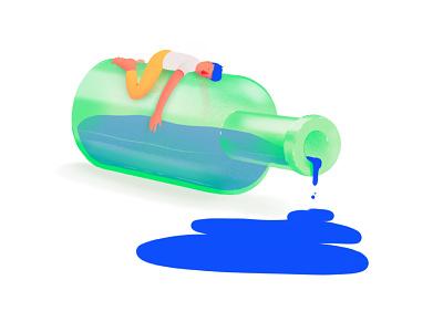 🥃🌀 sleepy bottle procreate illustrator illustration design