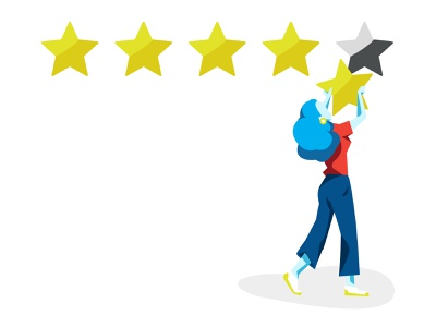 5 Star Rating judgement value benchmark blue girl rating stars vector art vector illustrator illustration