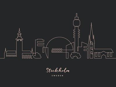 One line Stockholm sweden city skyline one line stockholm vector illustration