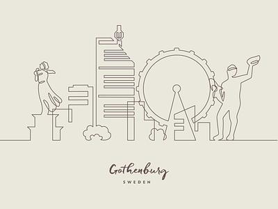 One line Gothenburg sweden city skyline one line gothenburg vector illustration