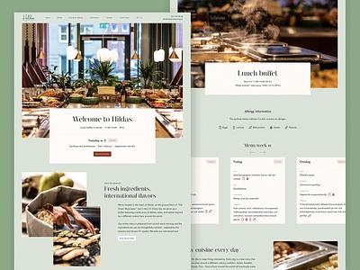 Hilda's Restaurant Website green lunch menu food web  design website restaurant