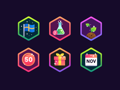 Fully Arcade Badges hexagon colorful icons glitter badges achievement vector illustration