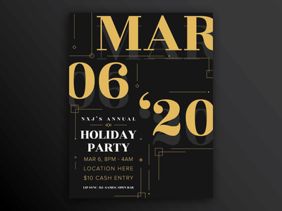 Holiday Party Flyer simple line date holiday card invitation invite party gold black poster flyer design adobe illustrator